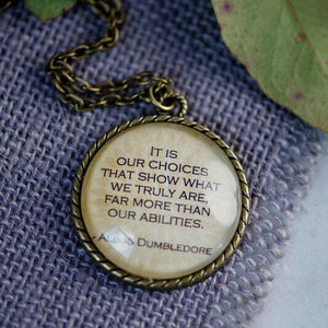 Albus Dumblefore Quote on a bronze pendant picture