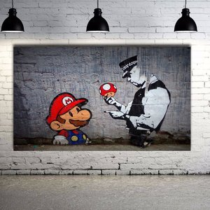 Banksy Street Art Super Mario Grafitti Canvas picture