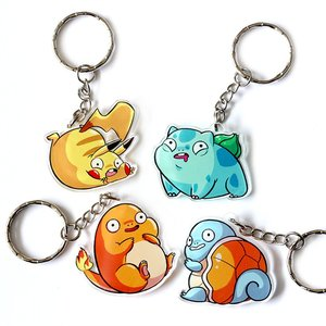 Chubby starter Pokemon keychains picture