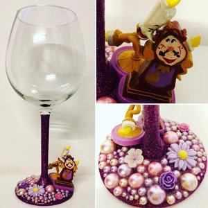 Cogsworth & Lumiere Glitter Wine Glass picture