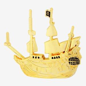 Disney Peter Pan Gold Jolly Roger Enamel Pin picture