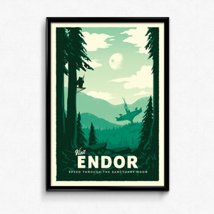 Endor - Star Wars Retro Travel Poster Print picture