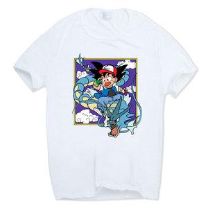 Goku cosplaying Ash riding a Gyarados t-shirt picture