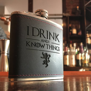 """I Drink and I Know Things"" Hip Flask picture"