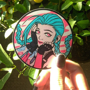 Jinx vinyl circle sticker picture