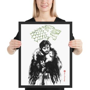 Jon Snow and direwolf Art Print picture
