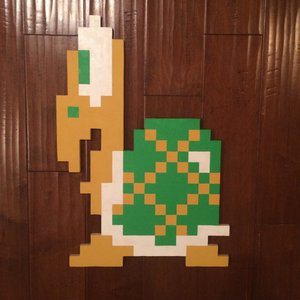 Koopa Troopa Wallhanging Handmade woodcut picture