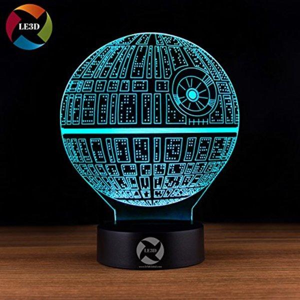 Death Star Themed 3d Illusion Led Night Light Geek Beholder