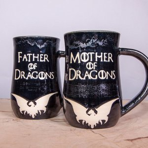 Mother of Dragons and Father of Dragons mug set picture
