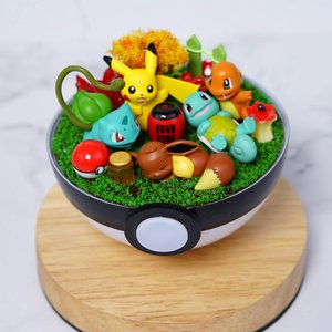 Pikachu and Kanto starters terrarium picture
