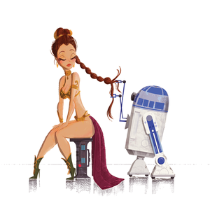 Princess Leia & R2D2 - Star Wars Print picture