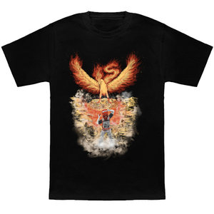 Red encountering Moltres t-shirt picture