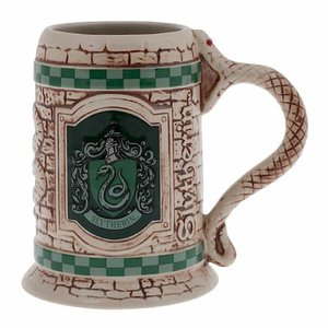 Sculpted ceramic Slytherin stein mug picture