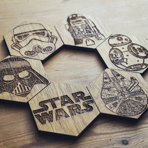 Set of 6 Hexagonal Star Wars inspired coasters picture