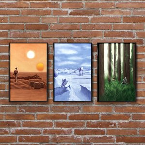 Set of Star Wars Art Prints: Tatooine, Hoth and Endor picture