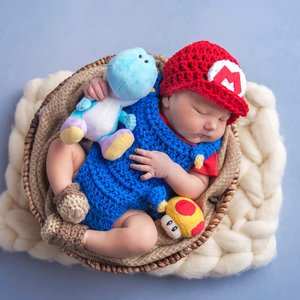 Super Mario Bros baby crochet outfit picture