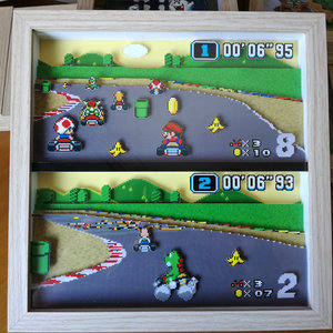 Super Mario Kart Pixel Art Shadow Box picture