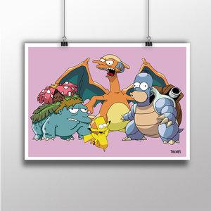 The Simpsons x Pokemon Art Print picture
