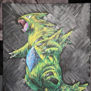 Tyranitar acrylic painting picture