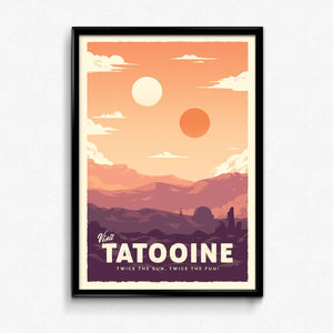 Visit Tatooine - Star Wars Retro Travel Poster Print picture